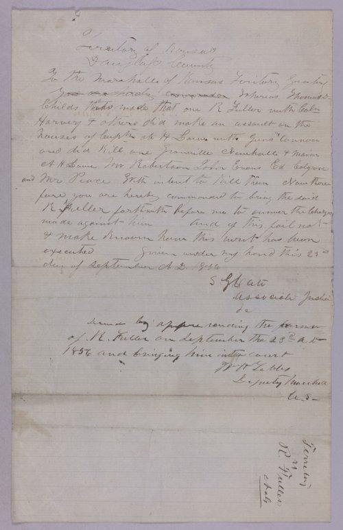 Kansas Territory versus R. Fuller for assault - Page