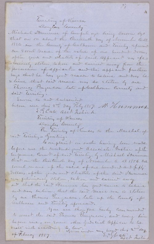 Kansas Territory versus Thomas Ferguson for horse stealing - Page