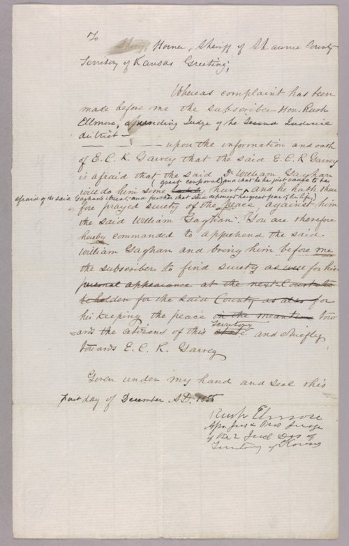 Kansas Territory versus William Gagham for assault with intent to kill - Page