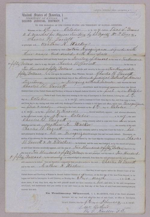 Kansas Territory versus Charles B. Garrett, Matthew R. Walker for forfeited recognizance - Page
