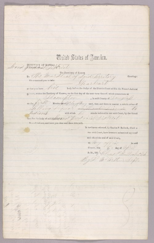 Kansas Territory versus Gearhart for selling liquor to Indians - Page
