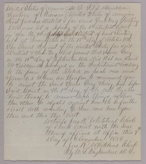 Kansas Territory versus Isaac Gray for robbery - Page