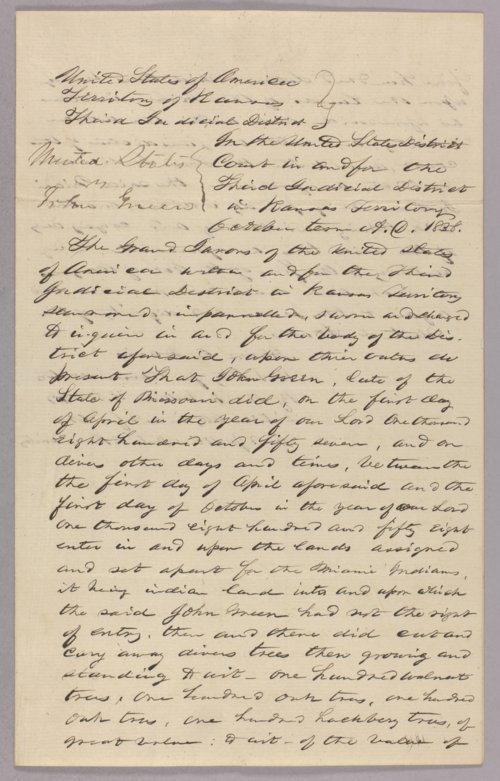 United States versus John Green for settling on Miami Indian land - Page