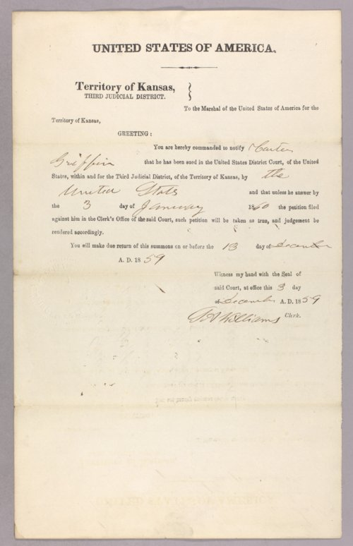 United States versus Carter Griffin for settling on Indian land - Page