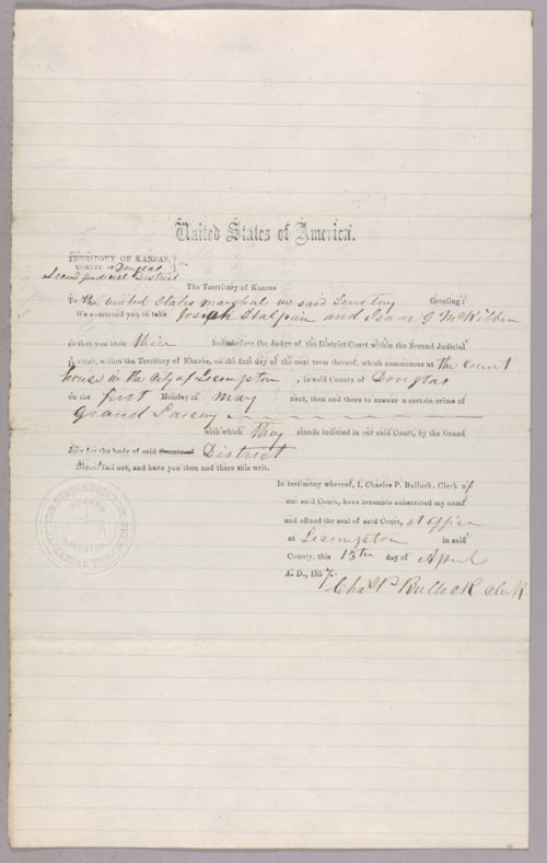 Kansas Territory versus Josiah Halpain for larceny - Page