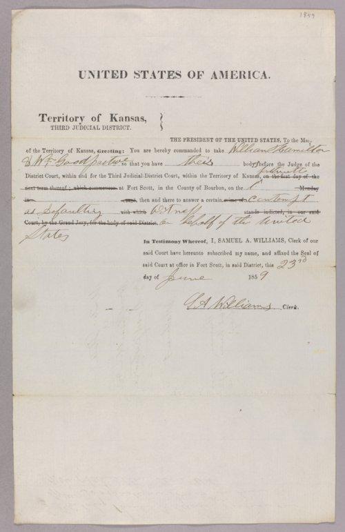 Kansas Territory versus William Hamilton for contempt - Page
