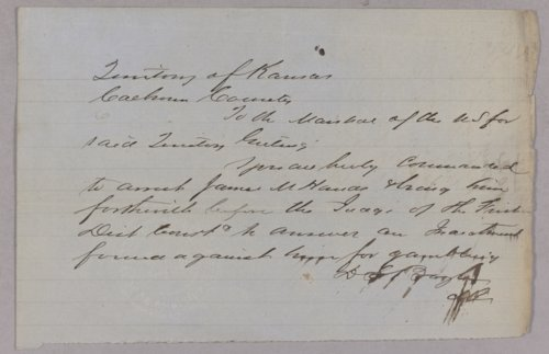 Kansas Territory versus James M. Hand for gambling - Page