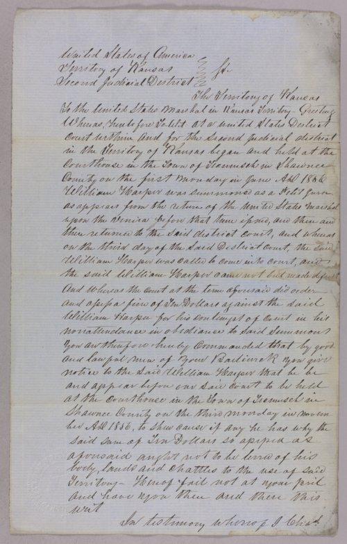 Kansas Territory versus William Harper for contempt - Page