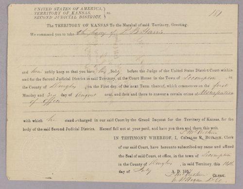 Kansas Territory versus Pennington B. Harris for usurpation of office - Page