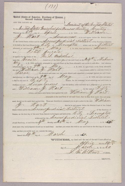 United States versus William Y. Hart for contempt - Page