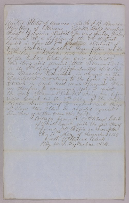 Kansas Territory versus James A. Harvey for robbery - Page