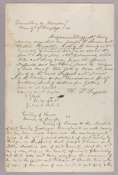 Kansas Territory versus Dalton Haselting for stealing oxen - Page