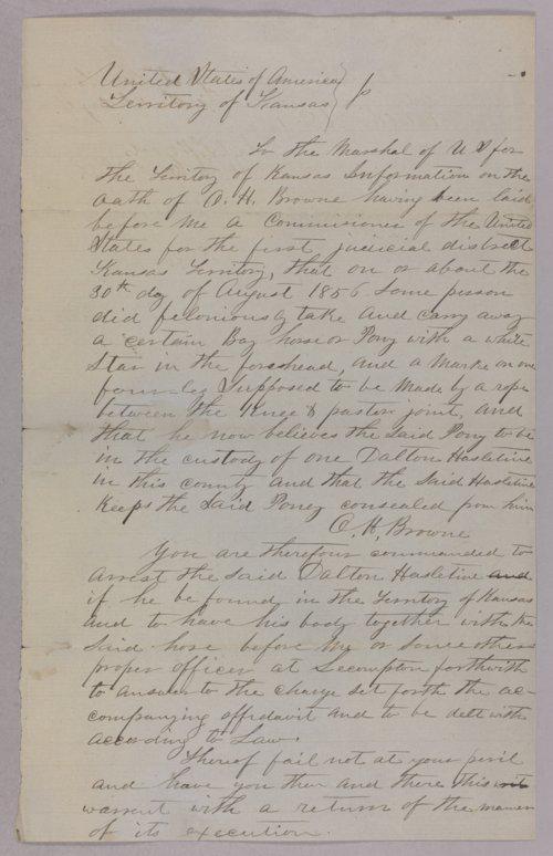 Kansas Territory versus Dalton Hazeltine for horse stealing - Page