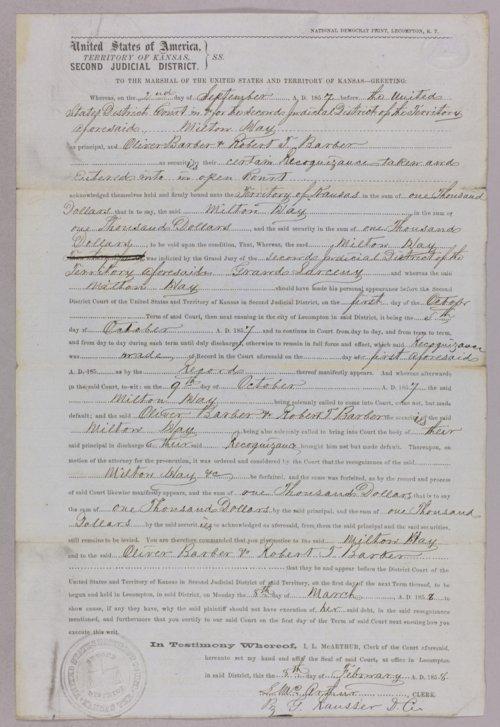 Kansas Territory versus Milton Hay for grand larceny - Page