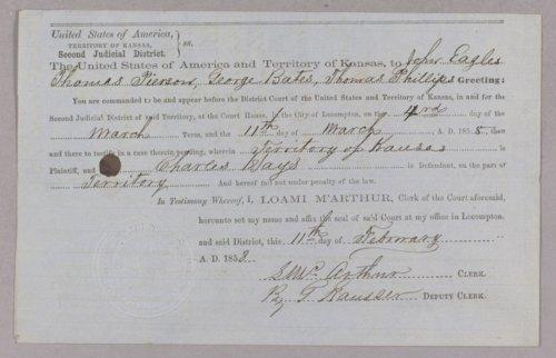 Kansas Territory versus Charles Hays for murder - Page