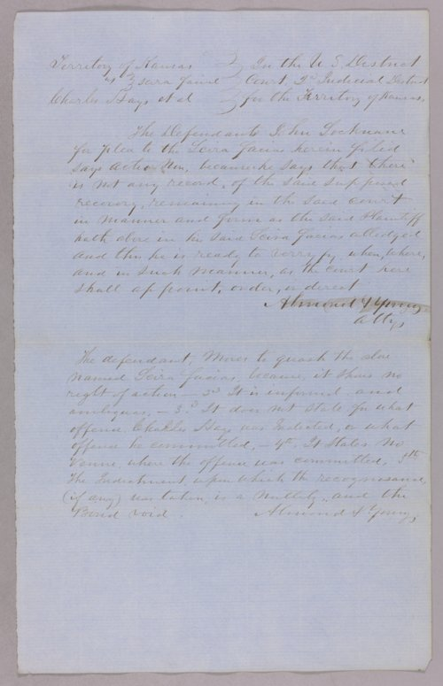 Kansas Territory versus Charles Hays for forfeited recognizance - Page