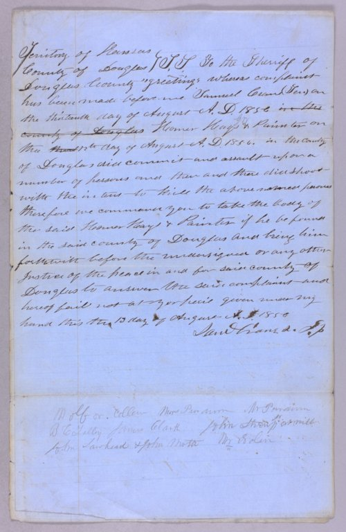 Kansas Territory versus Homer Hays & W. J. Painter for assault with intent to kill - Page