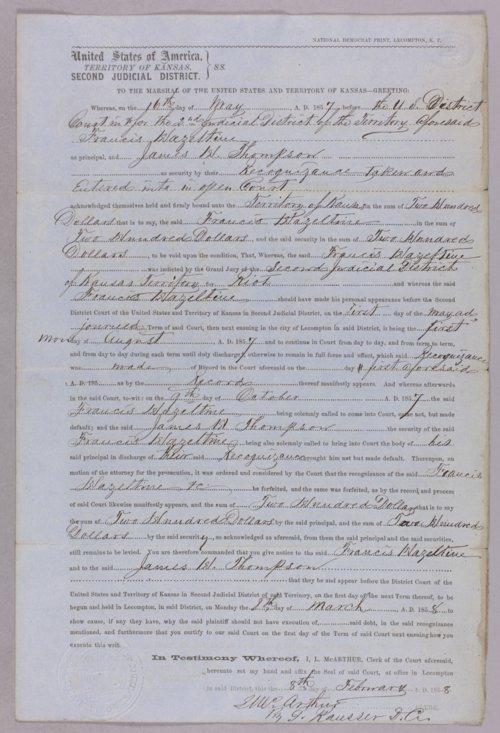 Kansas Territory versus Francis Hazeltine & James Thompson for forfeited recognizance - Page