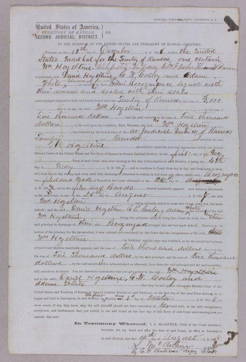 Kansas Territory versus William Hazeltine for forfeited recognizance - Page