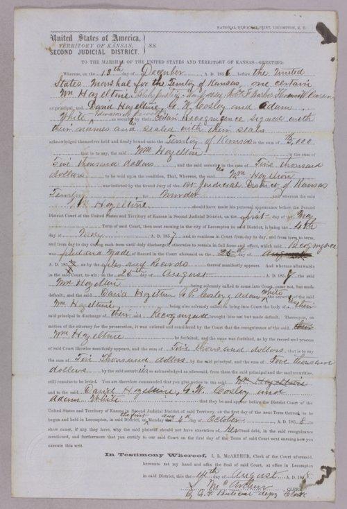 Kansas Territory versus William Hazeltine for forfeited recognizance - Page