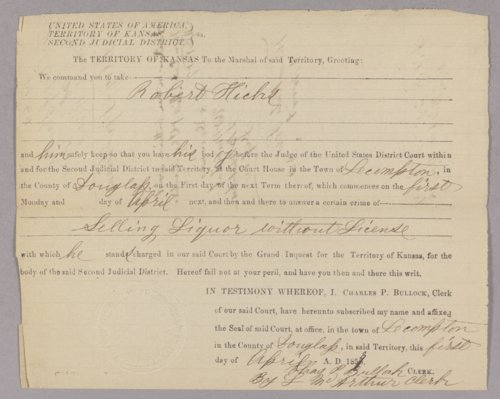 Kansas Territory versus Robert Hicks for selling liquor without a license - Page