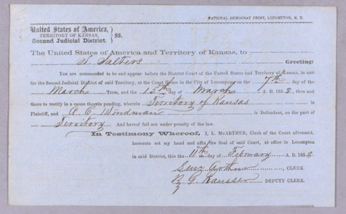 Kansas Territory versus A. C. Hindman for selling liquor without a license - Page