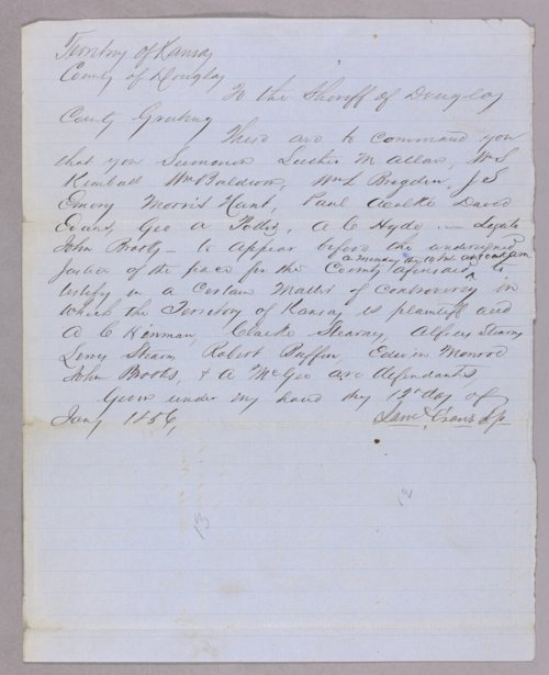 Kansas Territory versus A. C. Hinmann for receiving stolen goods - Page
