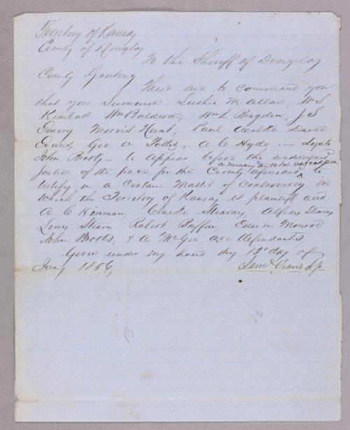 Kansas Territory versus A. C. Hinmann for receiving stolen goods - Page