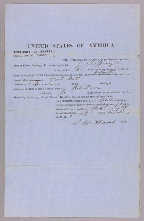 Kansas Territory versus J. Hoffnagle for rebellion - Page