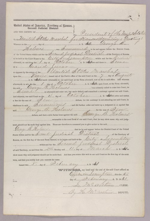 United States versus George B. Holmes for contempt - Page