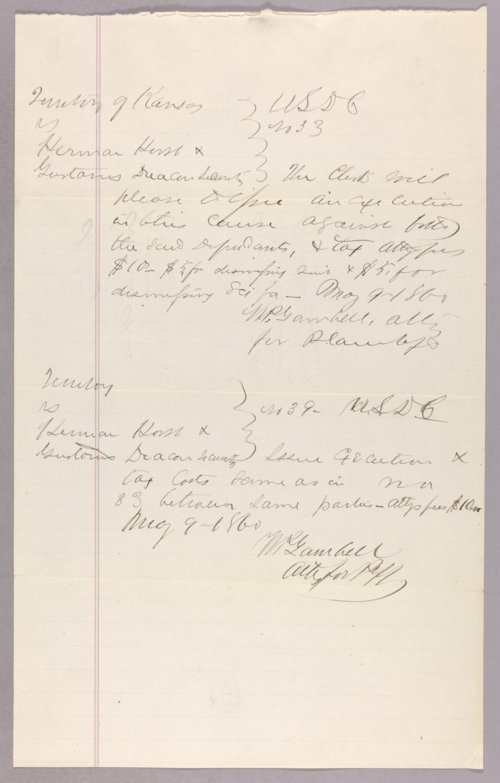 Kansas Territory versus Herman Horst & Gustavus Deacon for forfeited recognizance - Page