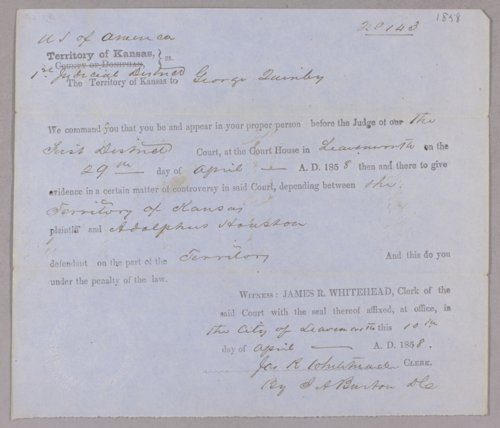 Kansas Territory versus Adolphus Houston for larceny - Page