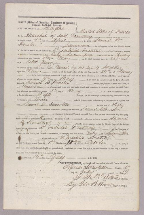 United States versus Samuel D. Houston for contempt - Page