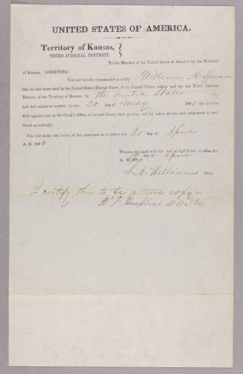 United States versus William Huttmann for settling on Indian lands - Page
