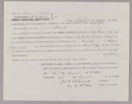 Kansas Territory versus Hunt for selling liquor to the Indians - Page