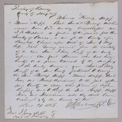 Kansas Territory versus Philip Hupp for rescuing a fugitive - Page