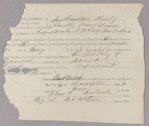 Kansas Territory versus Jacob Hurd for robbery - Page
