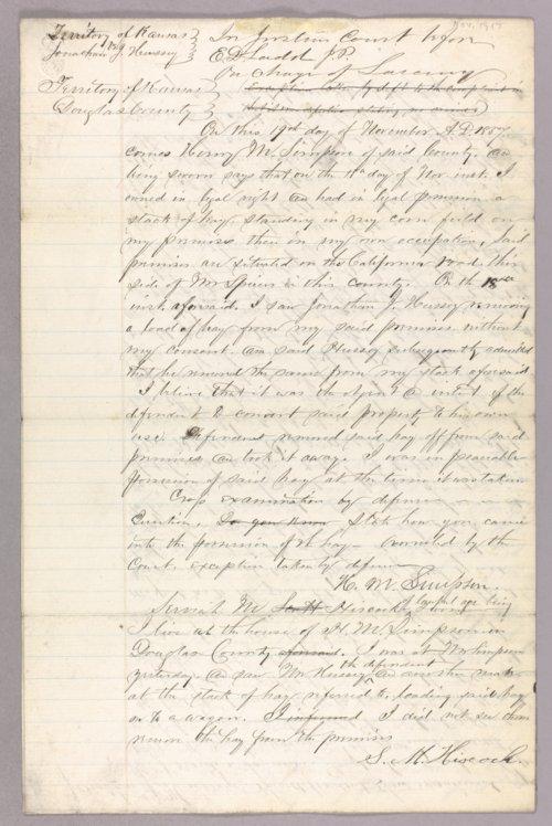 Kansas Territory versus Jonathan J. Hussey for stealing hay - Page