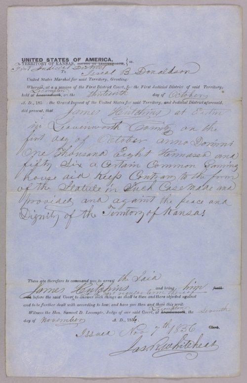 Kansas Territory versus James Hutchins for gaming - Page