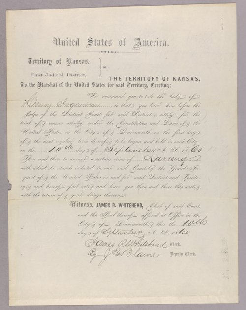 United States versus Henry Ingerson for larceny - Page