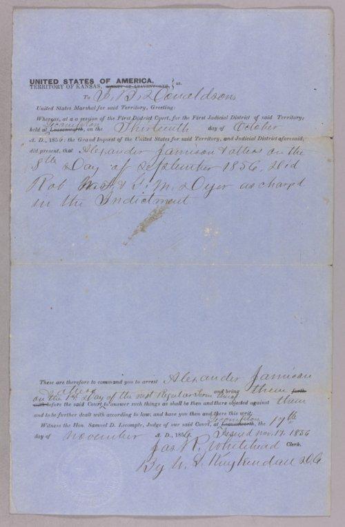 Kansas Territory versus Alexander Jamieson for robbery - Page