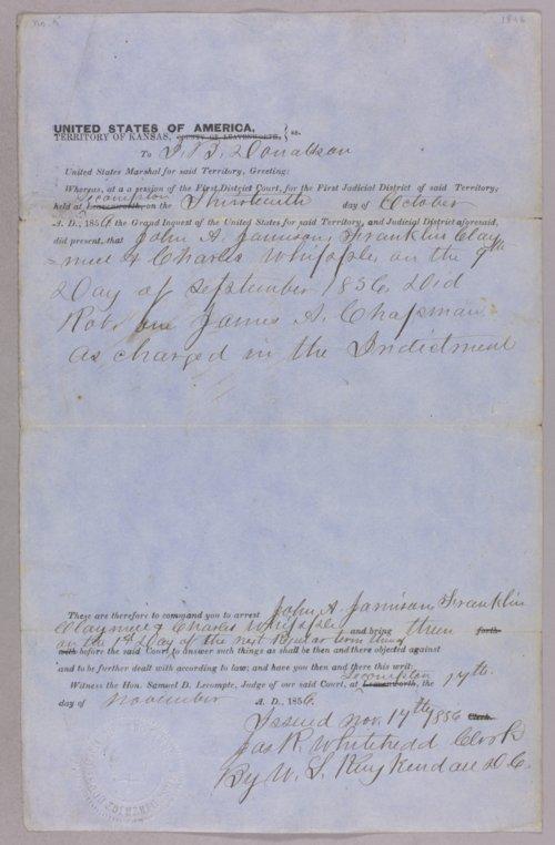 Kansas Territory versus John A. Jamieson for robbery - Page