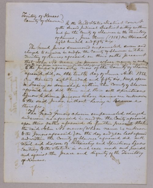 Kansas Territory versus John (no surname) for selling liquor without a license - Page