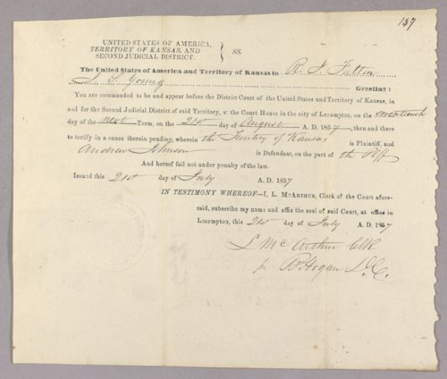 Kansas Territory versus Andrew Johnson for selling liquor without a license - Page