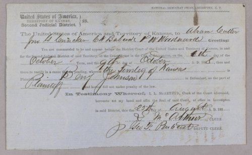 Kansas Territory versus Benjamin Johnson for selling liquor without a license - Page