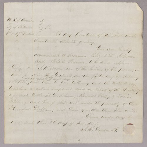 Kansas Territory versus Nathaniel Johnson, Maxwell Sorley, Lucius Kibee for surety for peace. - Page