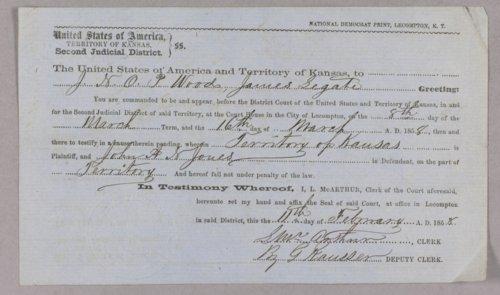 Kansas Territory versus John A. W. Jones for murder - Page
