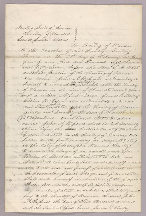 Kansas Territory versus John A. W. Jones for forfeited recognizance - Page