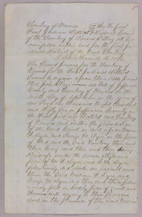 Kansas Territory versus John H. Kagl for robbery - Page