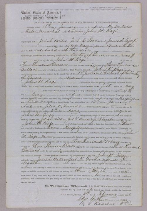 Kansas Territory versus John H. Kagl, Josiah Miller, Joel K. Goodwin, James F. Legate for forfeited recognizance - Page